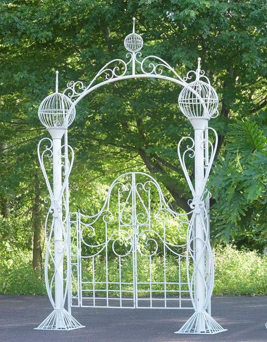 Gazebos, Arches, & Garden Gates - Whimsical Garden Gate With 3 Globe Planters