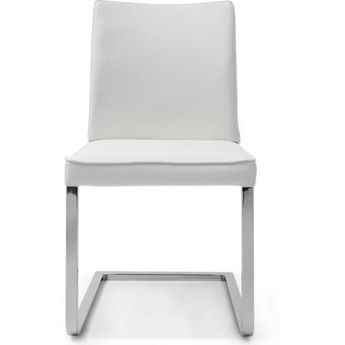 Ivy Dining Chair White Faux Leather Chrome Frame