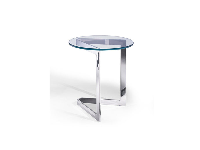 Jasmine Side Table Round Clear Glass With Stainless Steel Base