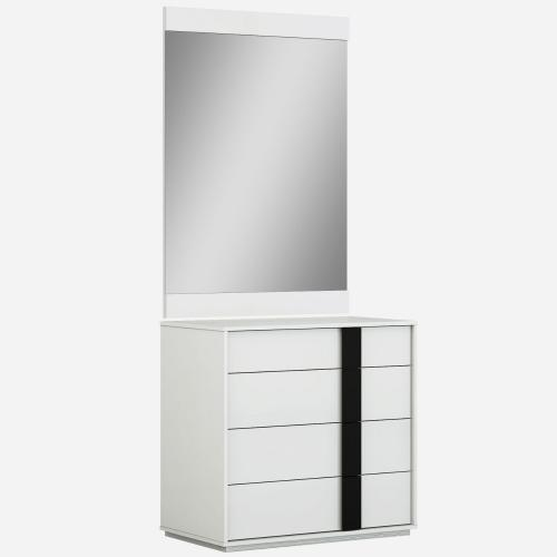 Kimberly Single Dresser High Gloss White With Self Closing Runners