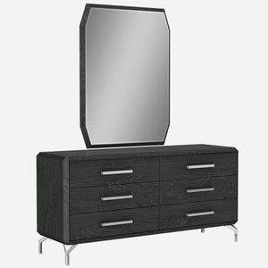 Los Angeles Double Dresser High Gloss Grey With Geometric Design