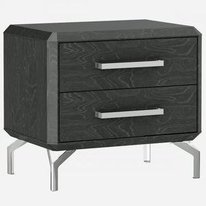 Los Angeles Nightstand With High Gloss Grey Geometric Design