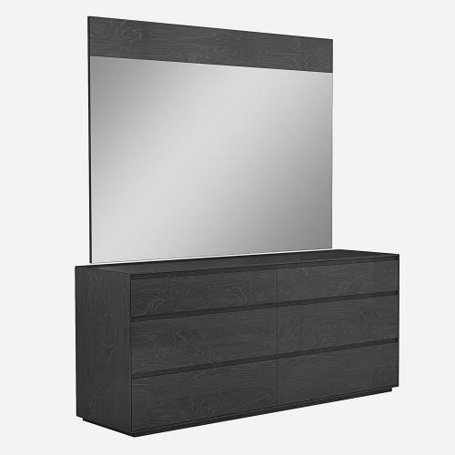 Malibu Dresser High Gloss Grey With 6 Self Close Drawers