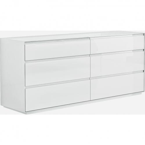 Malibu Dresser High Gloss White With 6 Self Close Drawers