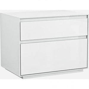 Malibu Night Stand High Gloss White Self Close Drawers