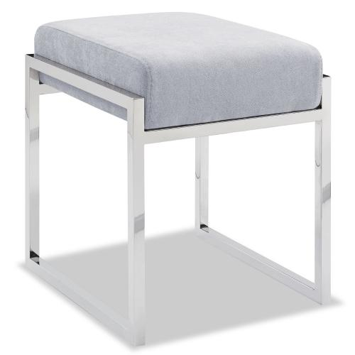 Milan Ottoman Light Gray Fabric Stainless Steel Base