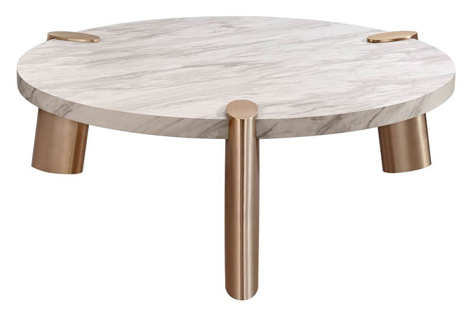 Mimeo Large Round Coffee Table With White Marble Paper Top