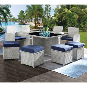 Outdoor Lounge Sets - ACME Paitalyi 9Pc Patio Set - 45075 - Blue Fabric & Wicker
