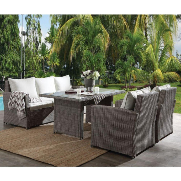 Outdoor Lounge Sets - ACME Tahan 4Pc Patio Set - 45070 - Fabric & 2-Tone Gray Wicker