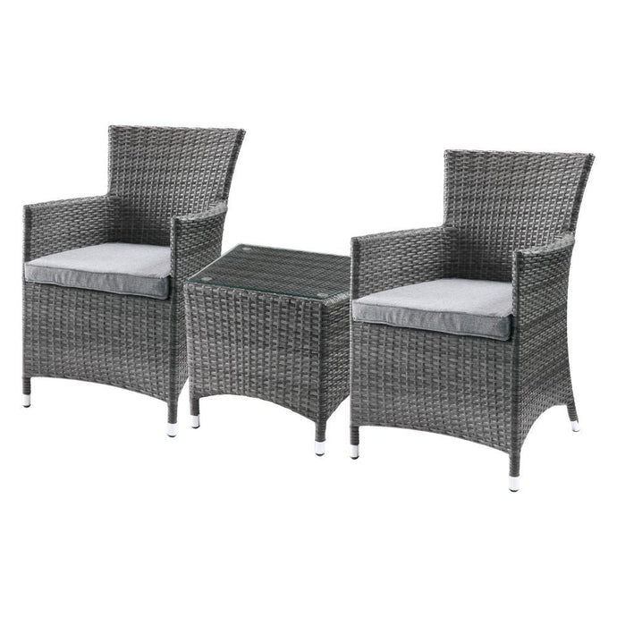 Outdoor Seating Sets - ACME Tashelle 3Pc Patio Bistro Set - 45000 - Gray Fabric & Gray Wicker