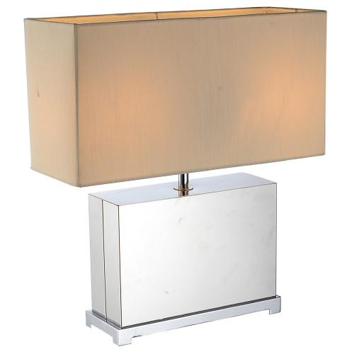 Payton Table Lamp Stainless Steel Base And Off White Fabric Shade