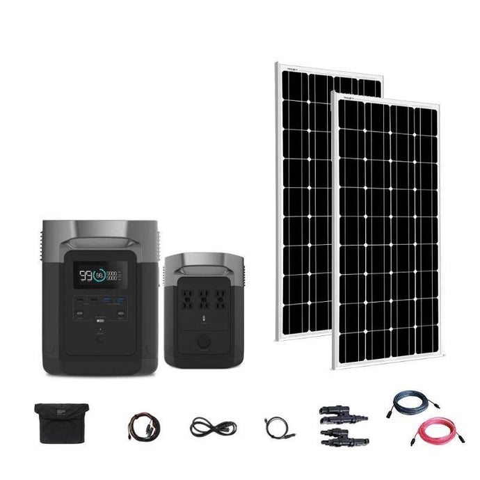Portable Power Units - EcoFlow Delta 1800W / 1300wH [Double Kit] + 2 X 100W 12V Mono Solar Panels | Complete Solar Generator Kit