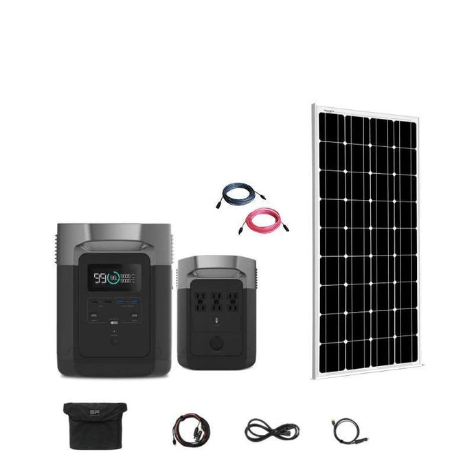 Portable Power Units - EcoFlow Delta 1800W / 1300wH Kit + 1 X 100W 12V Mono Rigid Solar Panel