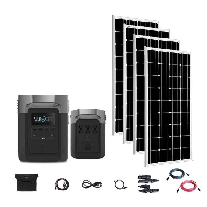 Portable Power Units - EcoFlow Delta 1800W / 1300wH Solar Generator [Quad Kit] + 4 X 100W 12V Mono Solar Panels | Complete Solar Kit