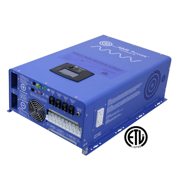 Pure Sine Inverters - Aims Pure Sine Inverter Charger 8000 Watt - 48 Vdc / 240Vac Input & 120/240Vac Split Phase Output ETL Listed To UL 1741