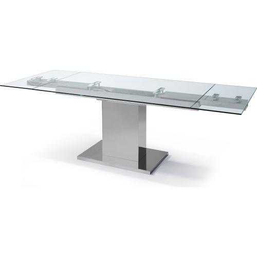 Slim Extendable Dining Table With Tempered Clear Glass Top