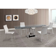 Load image into Gallery viewer, Slim Extendable Dining Table With Tempered Clear Glass Top
