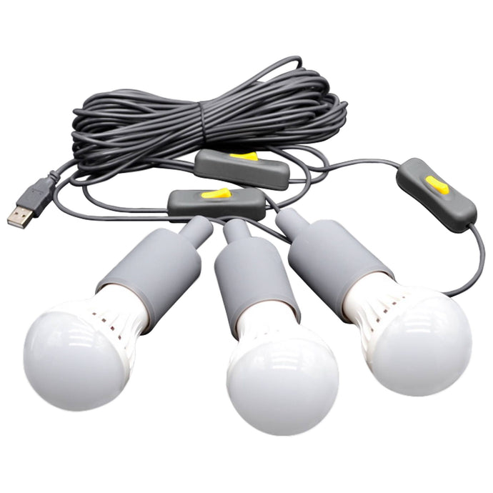 Solar Accessories - 3 LED Light Bulb String With USB Plug