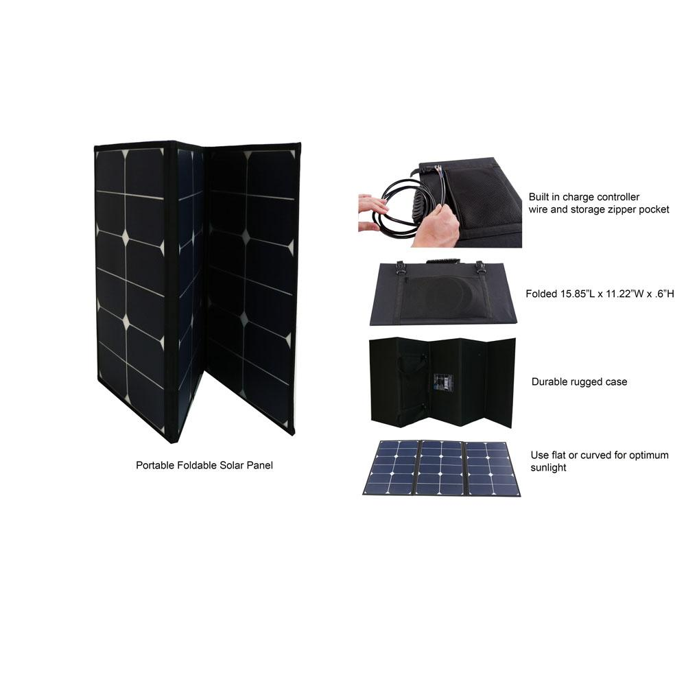 Solar Panels - Aims Portable Foldable Solar Panel 60 Watt Pre-wired And Built-in Carrying Case Mono Crystalline