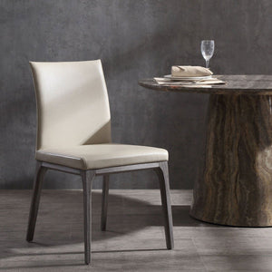 Stella Dining Chair With Taupe Faux Leather