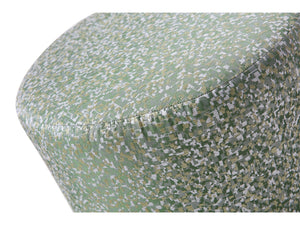 Tino Ottoman Green Fabric With Polished Stainless Steel Base