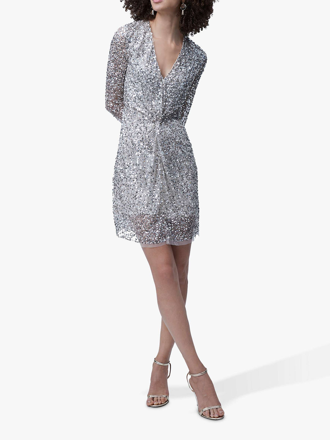 French Connection Sparkle Short Dress, Silver