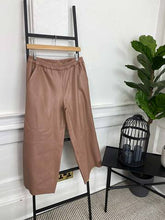 Load image into Gallery viewer, Saint Tropez Faux Leather Ankle Trousers, Brownie