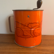 Load image into Gallery viewer, Vintage Orange Metal Flour Sifter