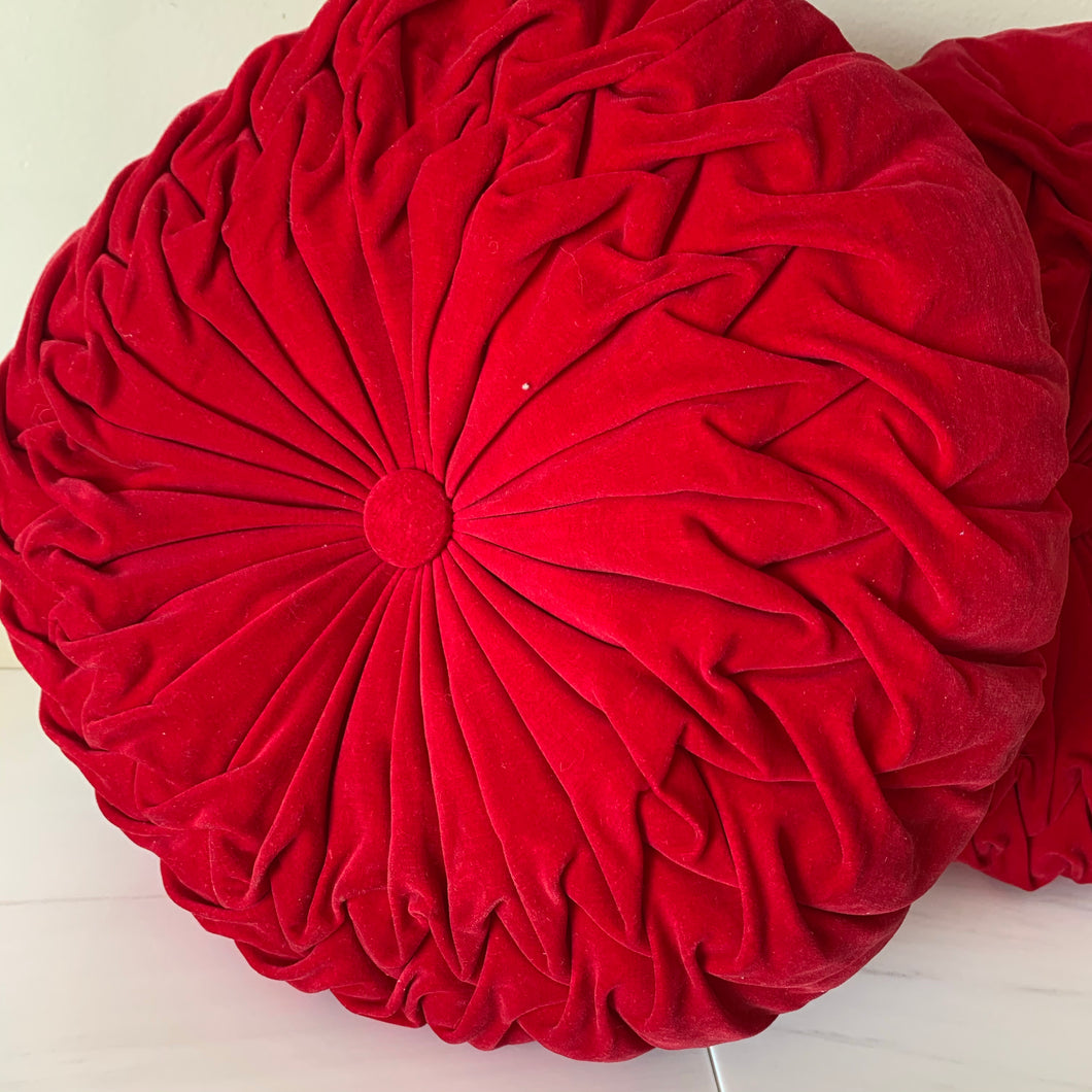 A Pair of Round Red Velvet Pleated Throw Cushion