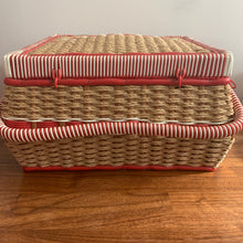 Load image into Gallery viewer, Red Vintage Sewing Basket