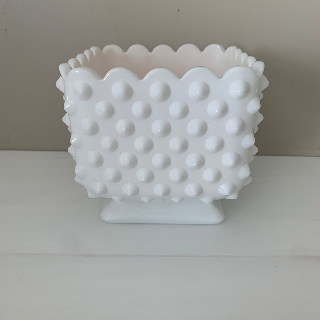 Square Fenton Hobnail Milk Glass Vase