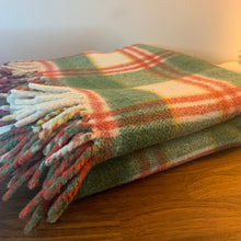 Load image into Gallery viewer, Vintage Plaid Blanket in Red White and Green