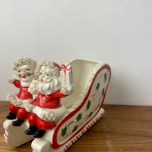 Load image into Gallery viewer, Vintage 1950's Santa and Mrs. Claus on a Sleigh, Ceramic