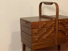 Load image into Gallery viewer, Large Vintage Wooden Accordion Sewing Box