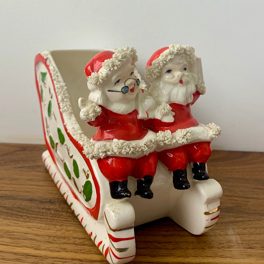 Vintage 1950's Santa and Mrs. Claus on a Sleigh, Ceramic
