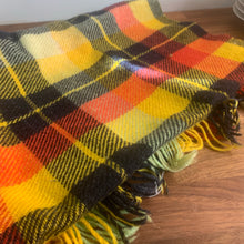 Load image into Gallery viewer, Marigold, Charcoal and Rust Plaid Wool Picnic Blanket