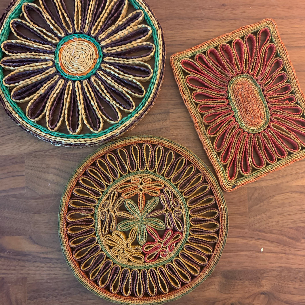 Set of 3 Wicker Vintage Trivets