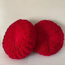 Load image into Gallery viewer, A Pair of Round Red Velvet Pleated Throw Cushion