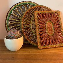 Load image into Gallery viewer, Set of 3 Wicker Vintage Trivets