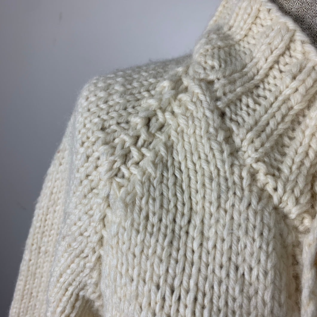 Vintage Chunky Hand-knit Cream Cardigan Sweater