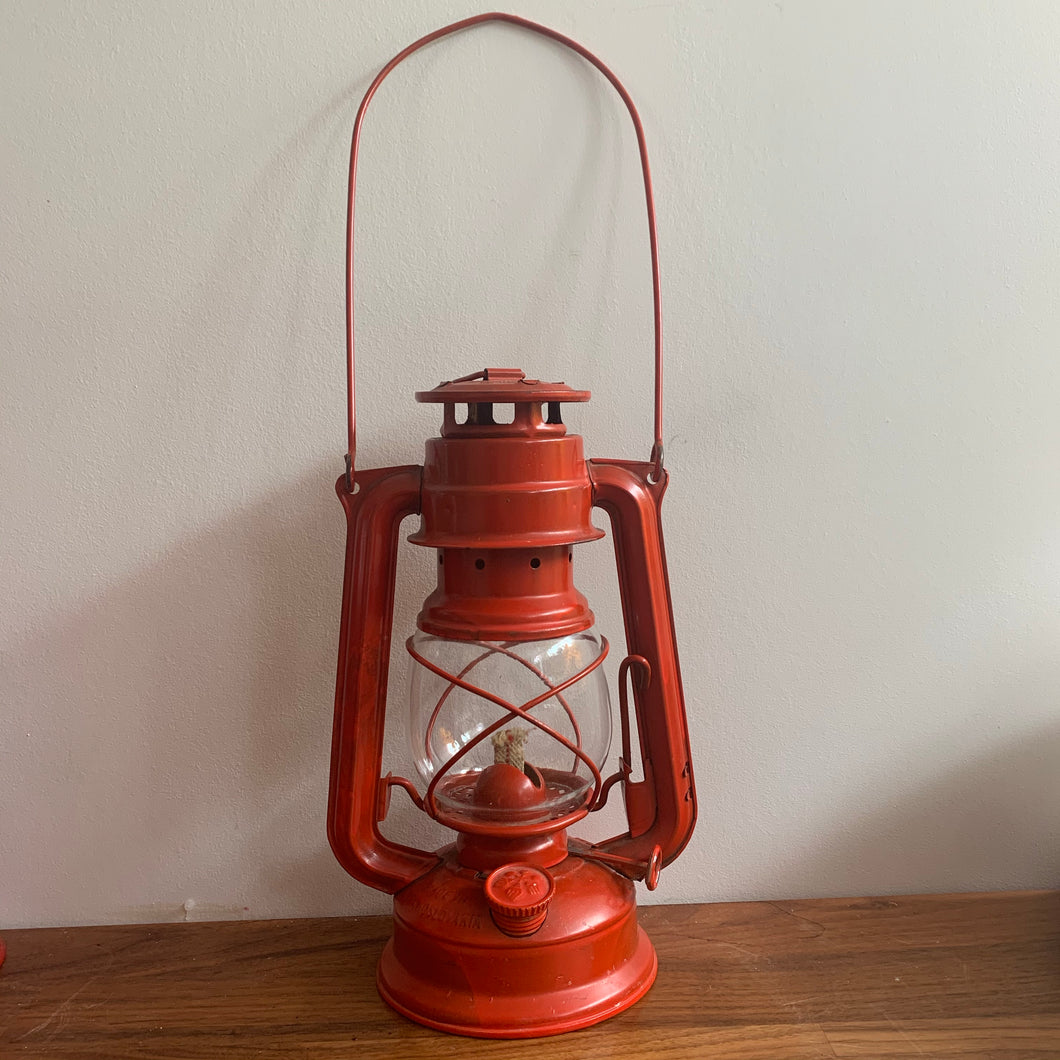 Red Rustic Vintage Lantern,  Made in Czechoslovakia