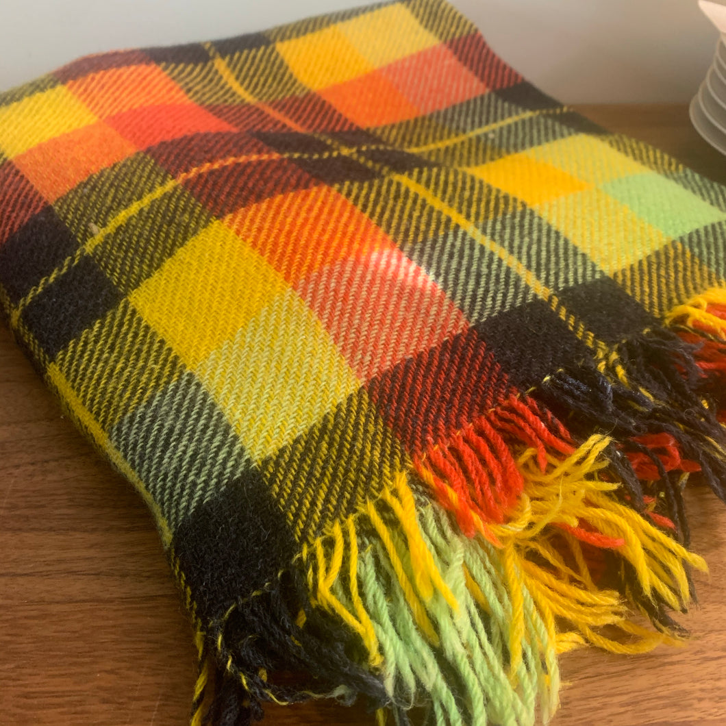 Marigold, Charcoal and Rust Plaid Wool Picnic Blanket