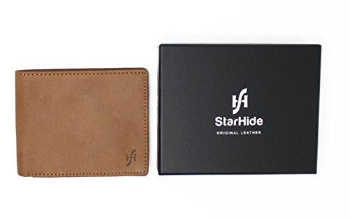 STARHIDE Mens Genuine Distressed Hunter Leather RFID Blocking Wallet 1140 Brown - Starhide