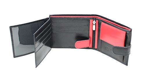 STARHIDE Mens RFID Blocking Genuine Leather Coin Pocket Wallet 625 Black RED - Starhide