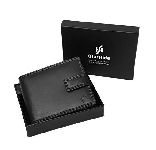 STARHIDE Mens RFID Blocking Genuine Calf Leather Wallet with A Side Zip Around Coin Pocket 1180 - Starhide