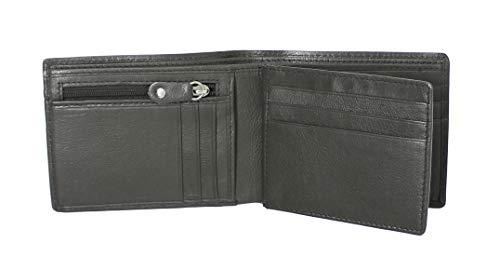 STARHIDE Mens RFID Blocking Soft Nappa Leather Zip Coin Pocket Trifold Wallet 115 - Starhide