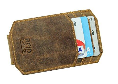 STARHIDE Mens RFID Blocking Real Distressed Hunter Leather Minimalist Card Holder Wallet With Magnetic Money Clip 725 Brown - Starhide