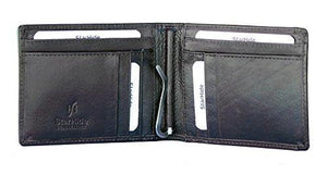 STARHIDE Mens Genuine Leather Slim Bifold Money Clip Cardholder Wallet 820 - Starhide