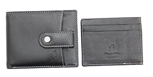 STARHIDE Mens RFID Blocking Genuine Leather Wallet with Removable Minimalist Slim Card Holder 1125 - Starhide