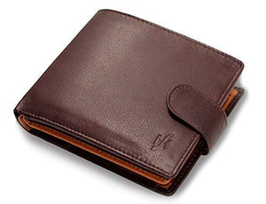 STARHIDE Mens RFID Blocking Compact Real Leather Billfold Coin Pocket Wallet ID Holder 1075 Brown Tan - Starhide